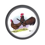 Red Leghorn Chickens Wall Clock