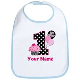 First birthday girl zebra print Cotton Bibs