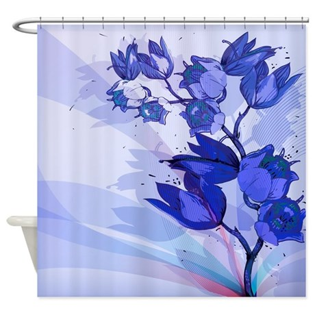 Blue Flowers Shower Curtain