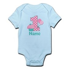 1st Birthday Cupcake Pink Blue Body Suit