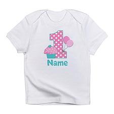 1st Birthday Cupcake Pink Blue Infant T-Shirt