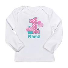 1st Birthday Cupcake Pink Blue Long Sleeve T-Shirt