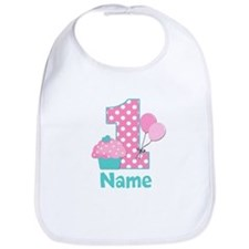 1st Birthday Cupcake Pink Blue Bib