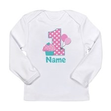 1st Birthday Cupcake Pink Blue Long Sleeve T-Shirt