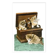 4 Victorian Kittens Postcards (Package of 8)