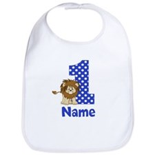 1st Birthday Lion Blue Bib