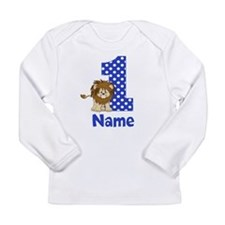 1st Birthday Lion Blue Long Sleeve T-Shirt