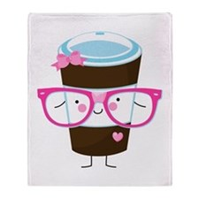 Nerdy Kawaii Coffee Throw Blanket