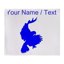 Custom Blue Hawk Silhouette Throw Blanket