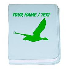 Custom Green Stork Silhouette baby blanket