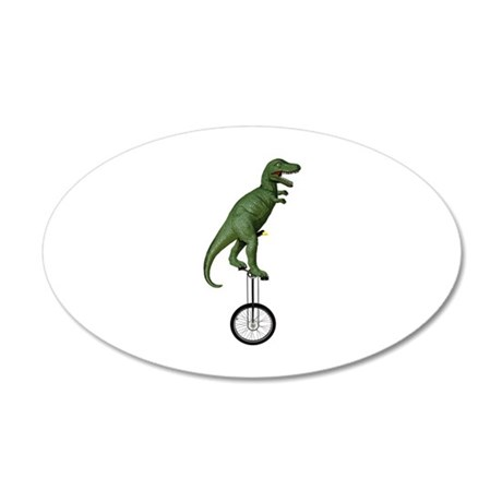 T-rex Riding Unicycle 20x12 Oval Wall Decal
