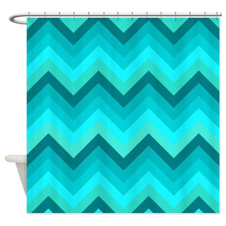Turquoise Shades Chevrons Shower Curtain By Erics Designz