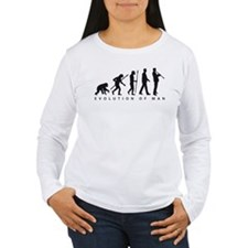 evolution of man clarinet player Long Sleeve T-Shi