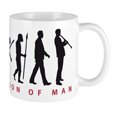 evolution of man clarinet player Mugs