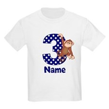 3rd Birthday Monkey Blue T-Shirt