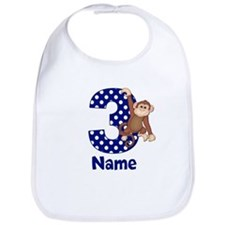 3rd Birthday Monkey Blue Bib