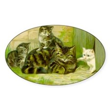 Vintage Cat and Kittens Decal