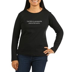 Government Protection? Women's Long Sleeve Dark T-