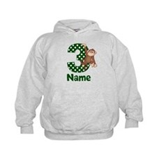 3rd Birthday Monkey Green Hoodie