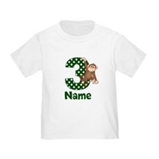 3rd Birthday Monkey Green T-Shirt
