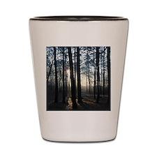 foggy trees Shot Glass