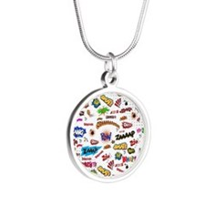 Comic Words Silver Round Necklace