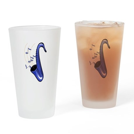 sax abstract saxophone w notes blue Drinking Glass