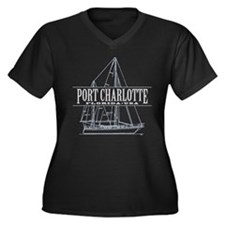 Port Charlotte - Women's Plus Size V-Neck Dark T-S