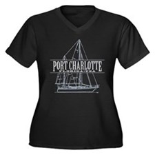 Port Charlotte - Women's Plus Size V-Neck Dark T-S