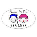 Razor and Die Oval Sticker