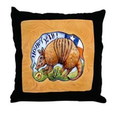 Texas Howdy Armadillo Throw Pillow