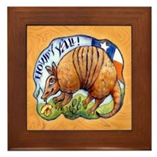 Armadillo Texas Howdy Framed Tile