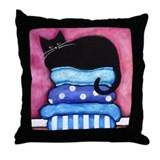 Black CAT on Blue Cushions Throw Pillow