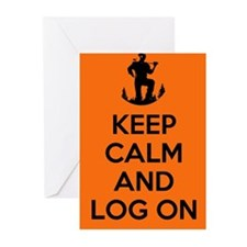 Keep Calm and Log On - orange Greeting Cards