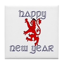 Happy new year Glengarry Scots lion Tile Coaster