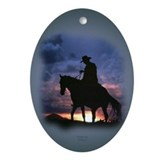 Cowboy Silhouette Keepsake/Oval Ornament