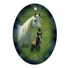 Mare with Foal Oval Ornament