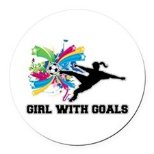 Girl with Goals Round Car Magnet