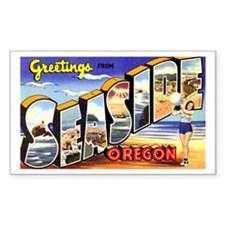 Seaside Oregon Greetings Rectangle Decal