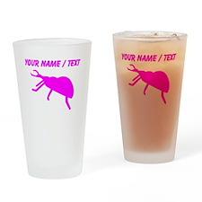 Custom Pink Beetle Silhouette Drinking Glass