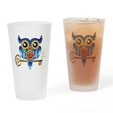 Owl on Skeleton Key Drinking Glass