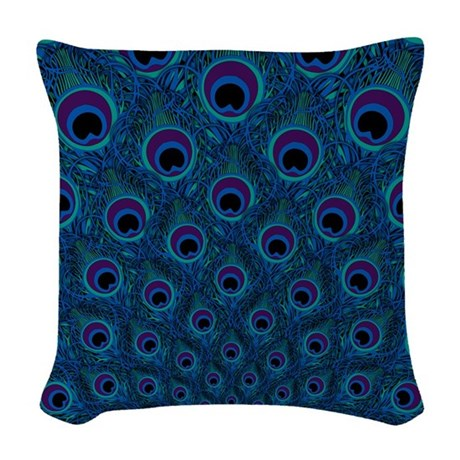 Peacock Feather Pattern Woven Throw Pillow by artandornament