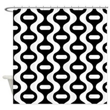 Black White Striped Retro 60s Fun Shower Curtain