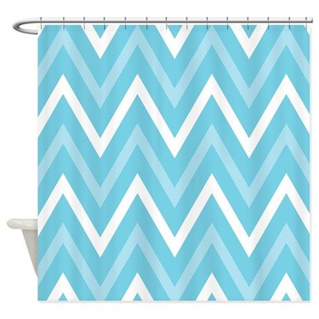 Chevron Zigzag Striped Turquoise Shower Curtain By MainstreetHomewares