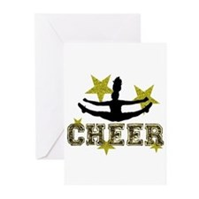Cheerleader Gold and Black Greeting Cards