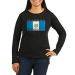 Guatemala Flag Women's Long Sleeve Black Shirt