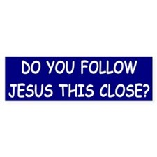 Blue & White Follow Jesus Bumper Bumper Sticker