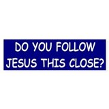 Blue & White Follow Jesus Bumper Car Sticker