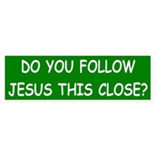 Green & White Follow Jesus Bumper Bumper Sticker