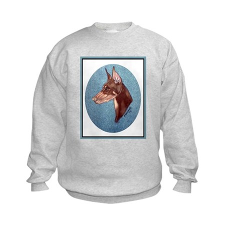 Red Doberman Pinscher Kids Sweatshirt